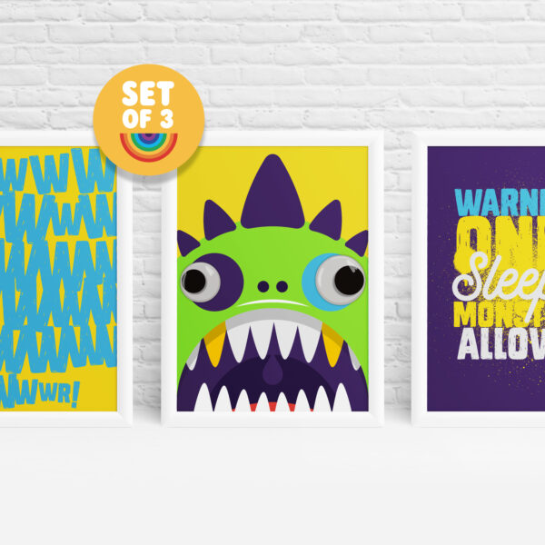 3 monster posters featuring monsters with googly eyes by Ibbleobble®