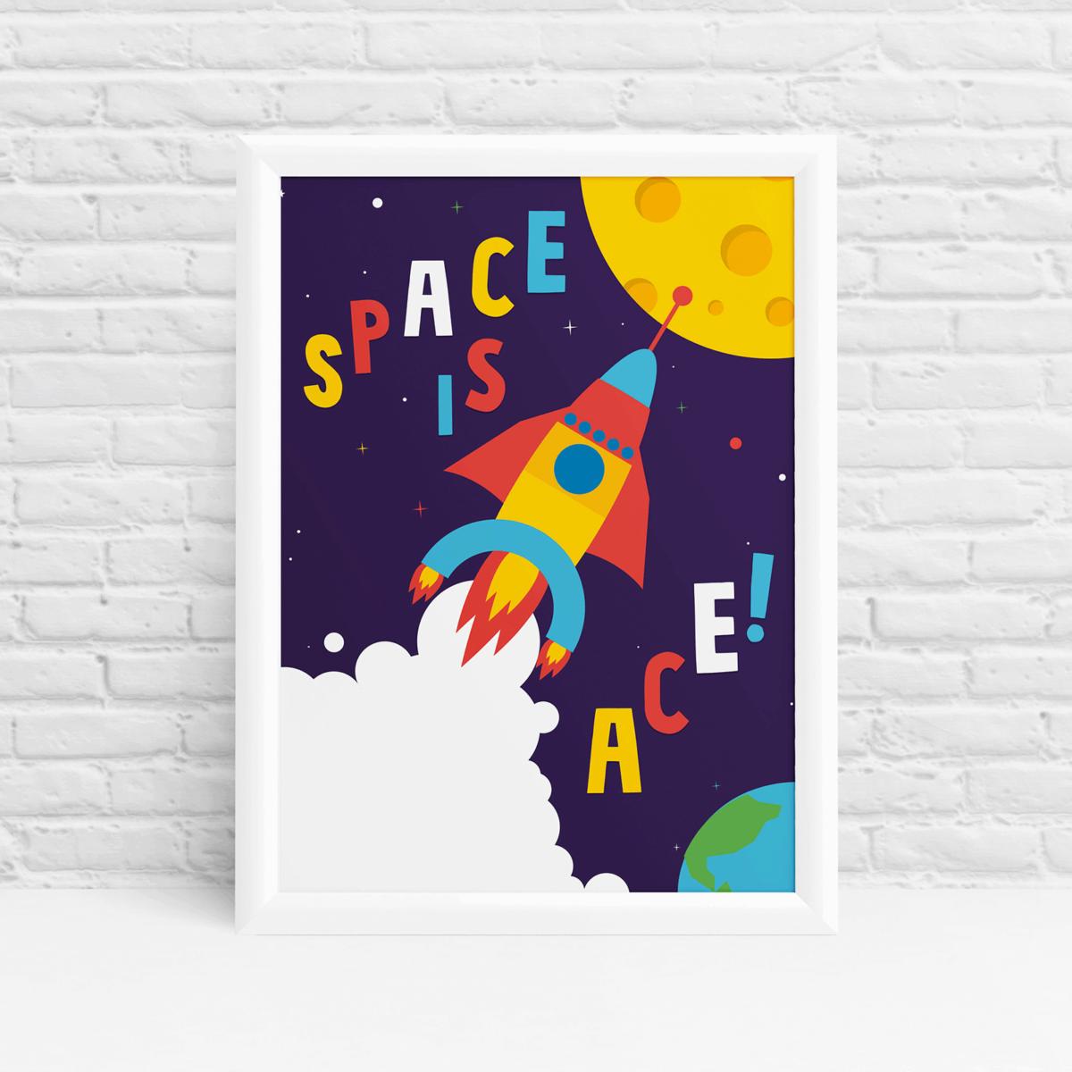 Space is ace! Original nursery art by Ibbleobble
