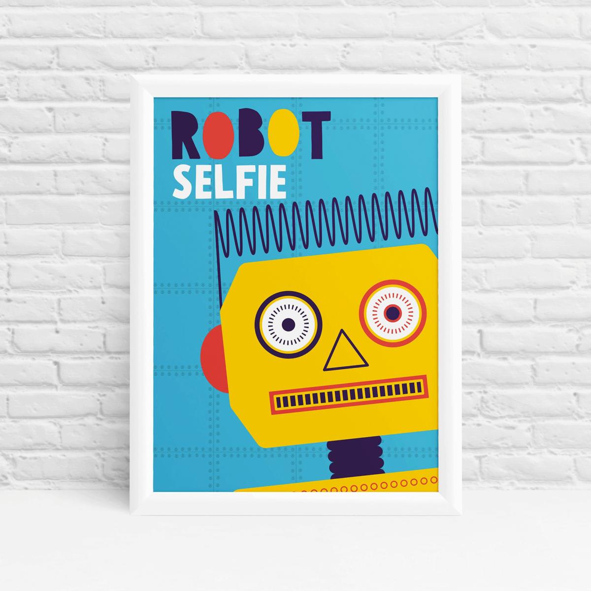 Robot selfie yellow original fun wall art by Ibbleobble®