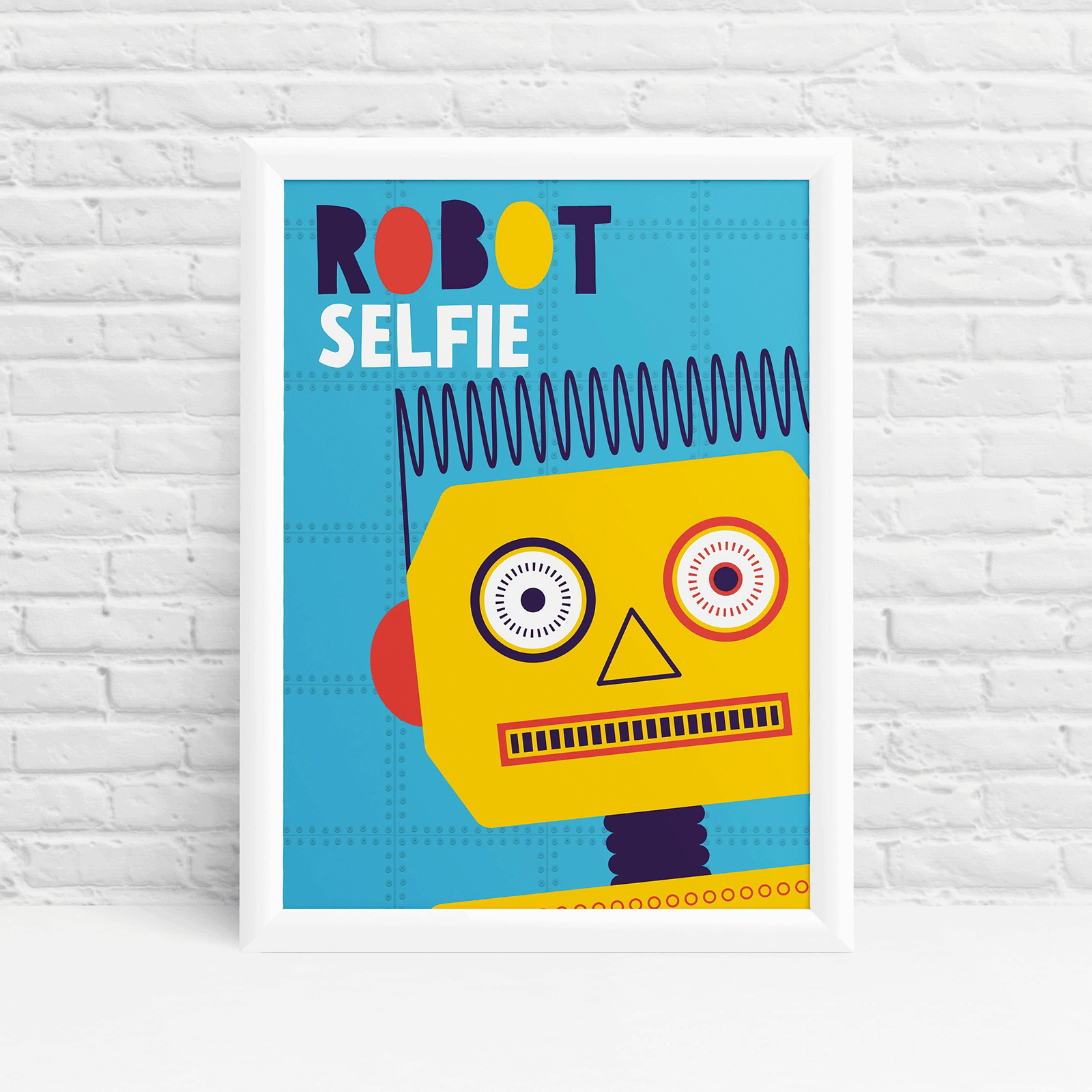 Robot selfie yellow original fun wall art by Ibbleobble®