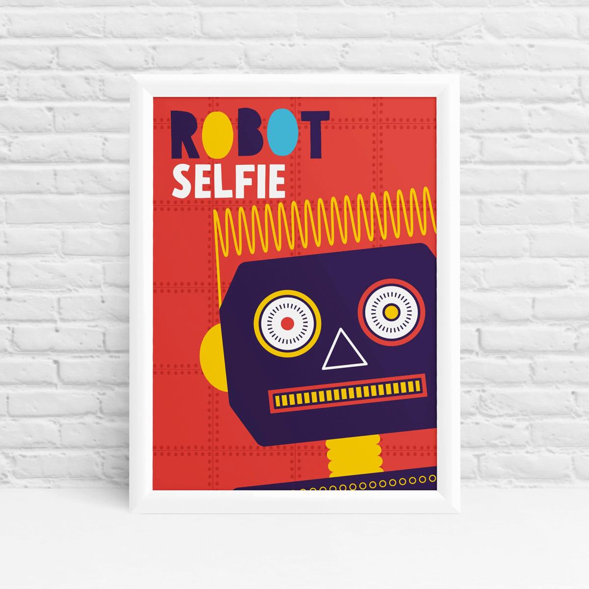 Purple Robot selfie poster original fun wall art by Ibbleobble®