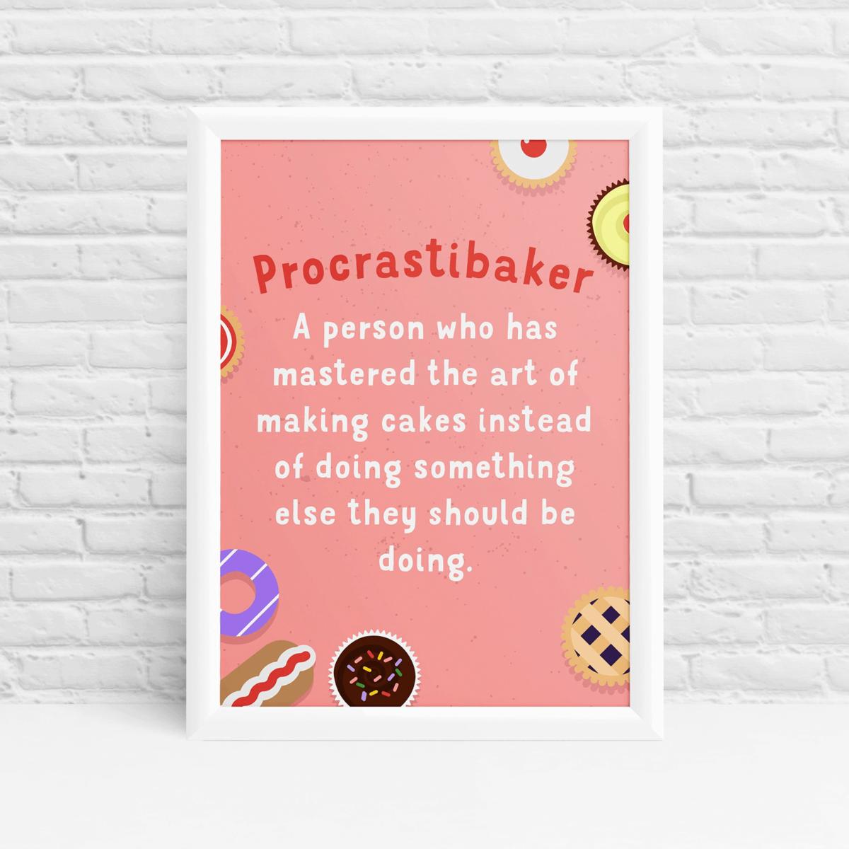 'Procrastibaker' GBBO Kitchen wall art print by Ibbleobble®