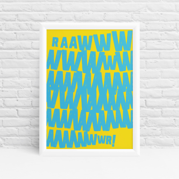 Bright and bold monster RAWR wall art by Ibbleobble®
