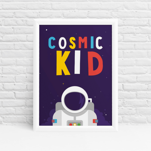 Cosmic kid spaceman little explorer astronaut print by Ibbleobble®