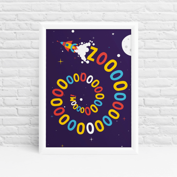 Zoom! Outer space wall art by Ibbleobble