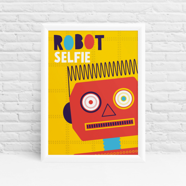 Mr Robot - Friendly vintage robot selfie poster design by Ibbleobble®