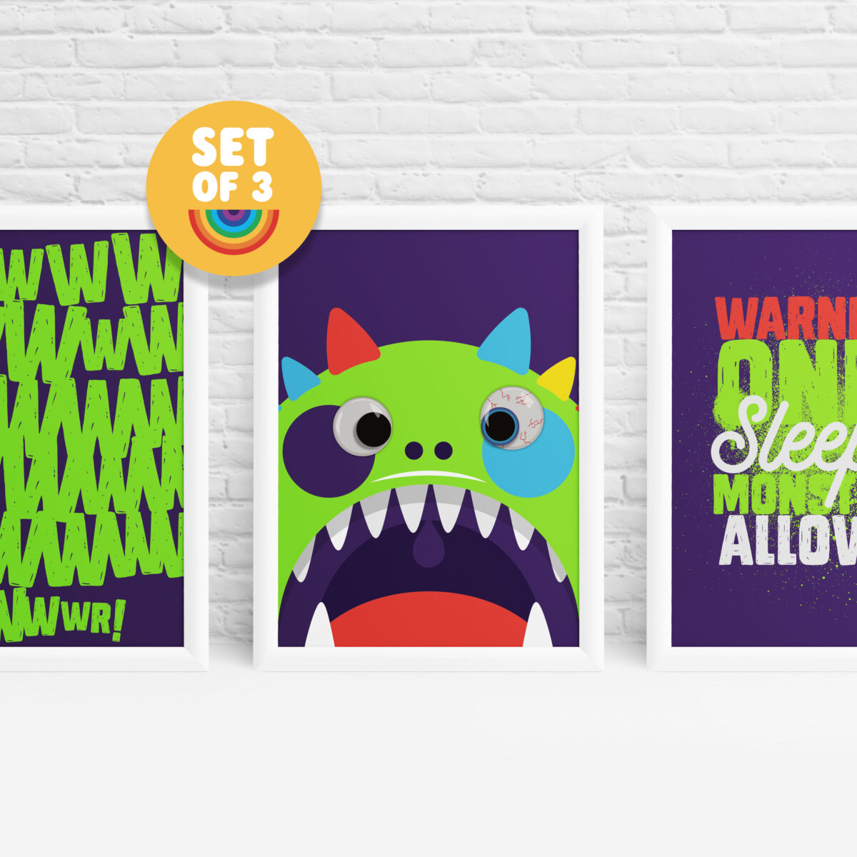 Set of 3 monster with googly eyes wall art by Ibbleobble®