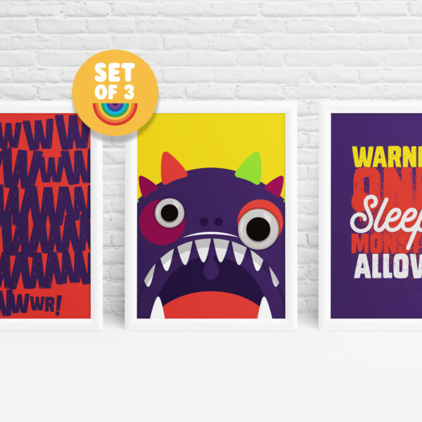 3 Monster prints for kids by Ibbleobble®