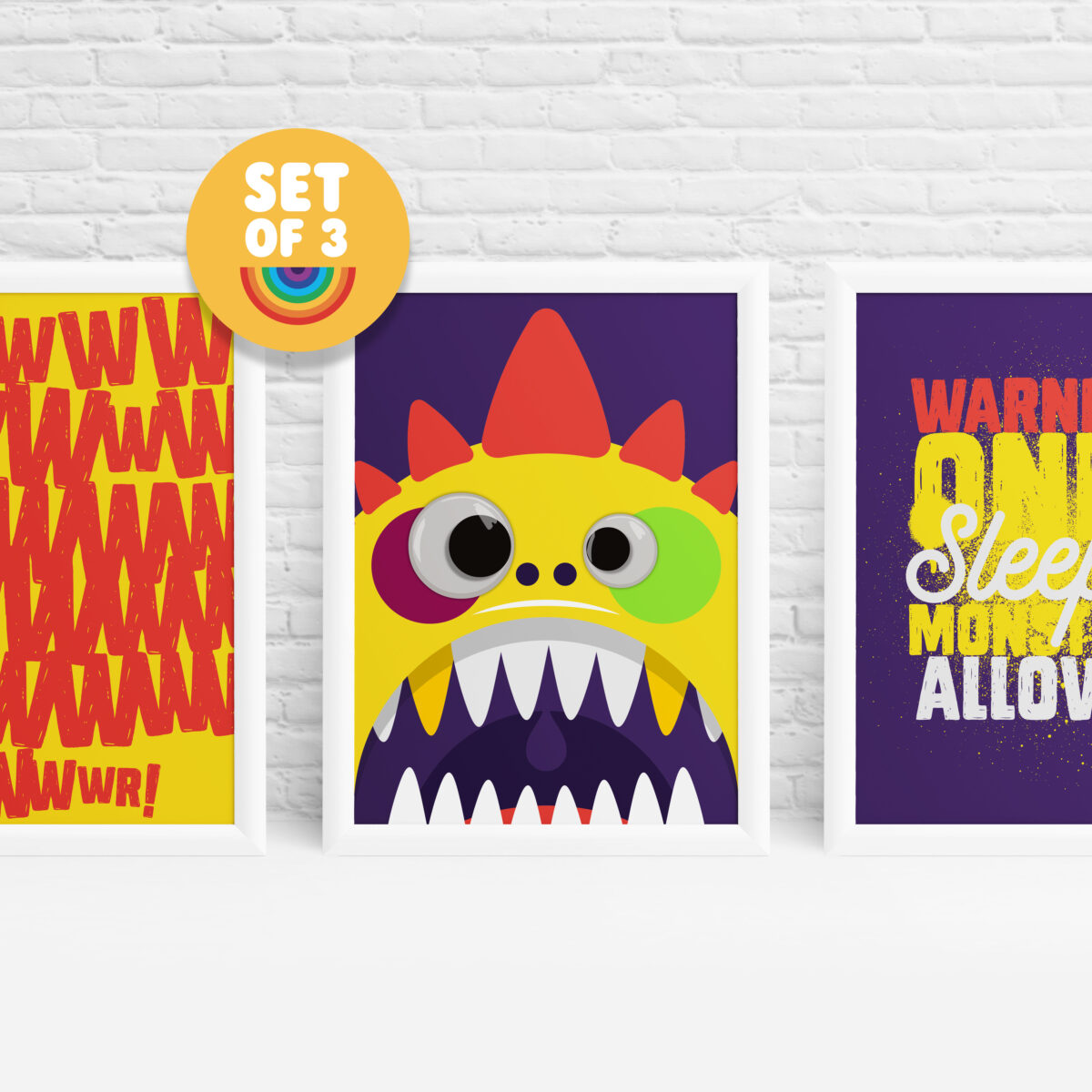 Set of 3 monster prints with googly eyes by Ibbleobble®
