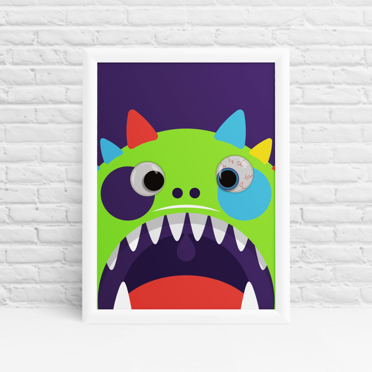Googly eye monster colourful nursery print by Ibbleobble®