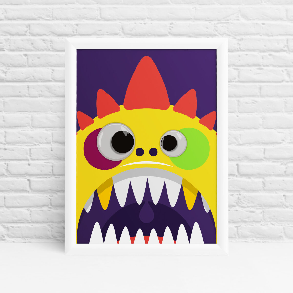 Cute yellow googly eyes monster nusery print by Ibbleobble®