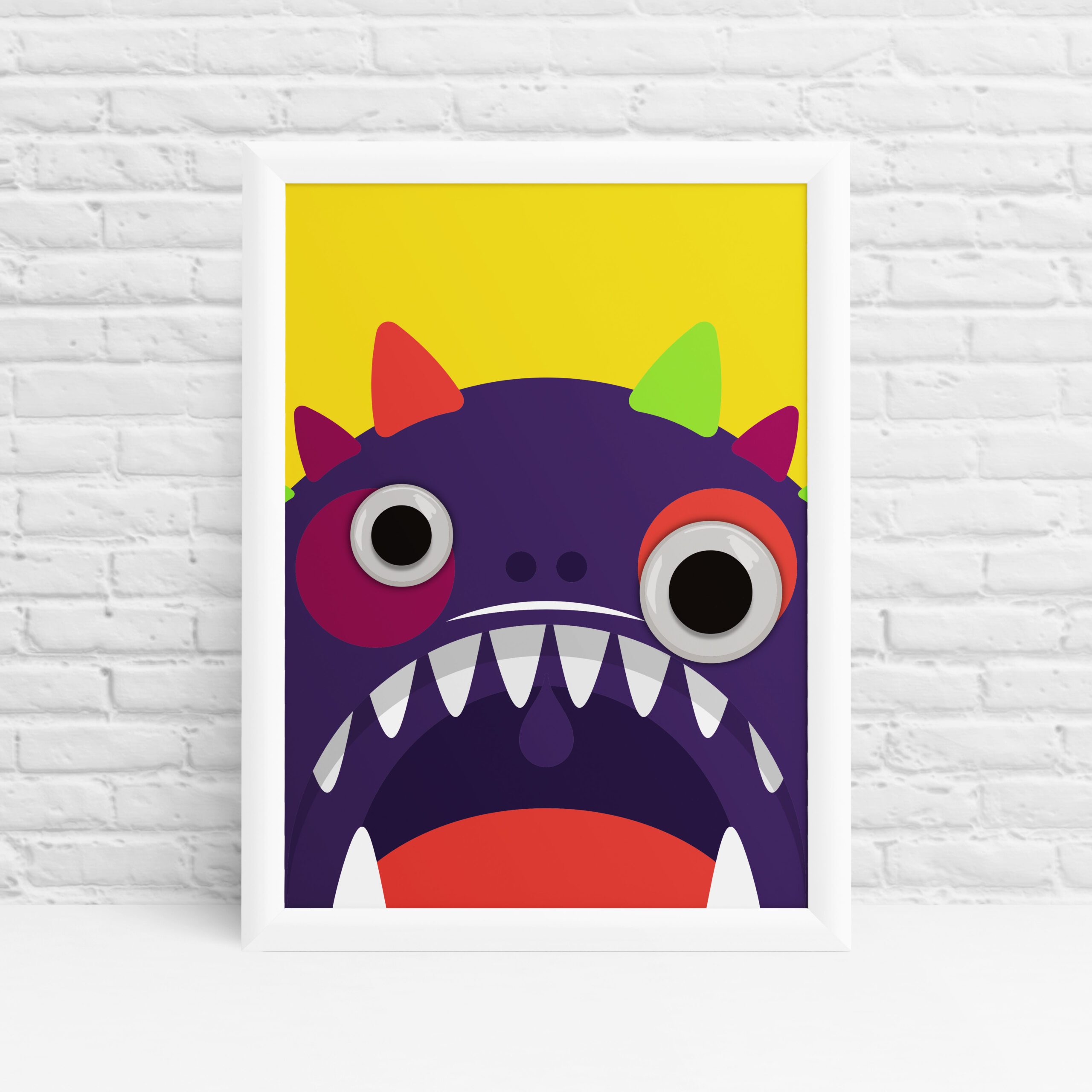 Cute and colourful googly eyes monster print Ibbleobble®