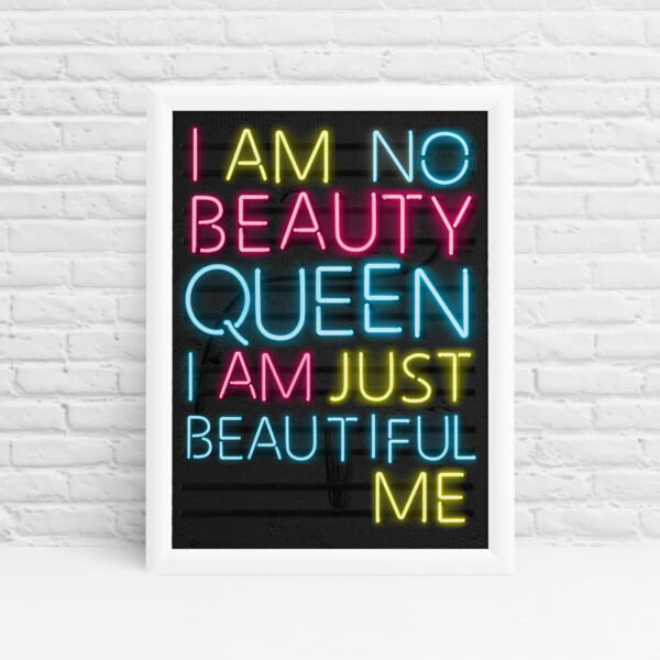 'Just Beautiful Me' inspirational bedroom print wall art by Ibbleobble